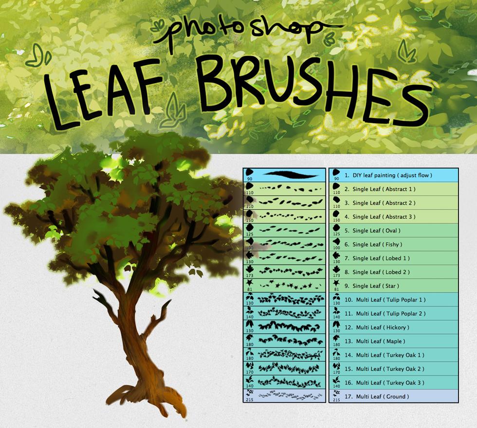 各种树叶、植物叶子cg绘画创作PS笔刷素材