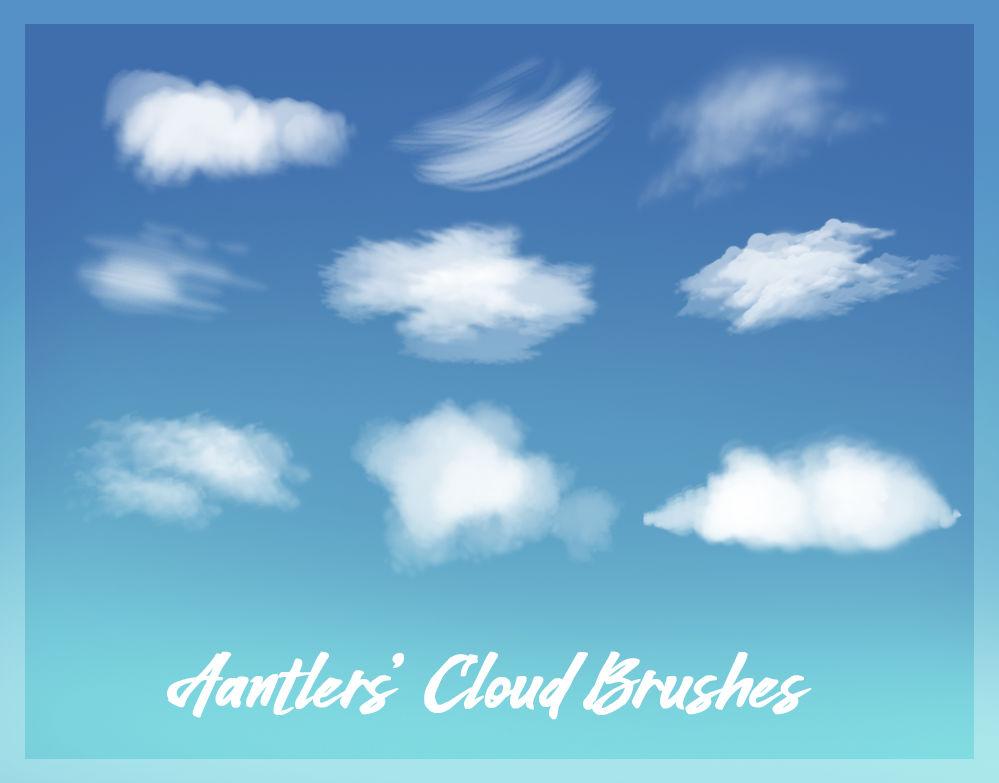 高级云彩、云朵绘画插画笔触PS笔刷下载