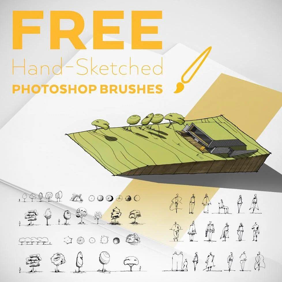 免费手绘素描式树木、线条人像等PS笔刷素材