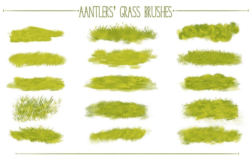手绘青草、草地、草坪纹理材质PS插画笔触笔刷