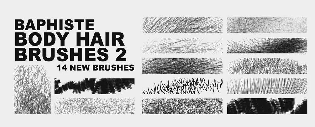 毛发、卷发、容貌、纤维材质PS笔刷素材