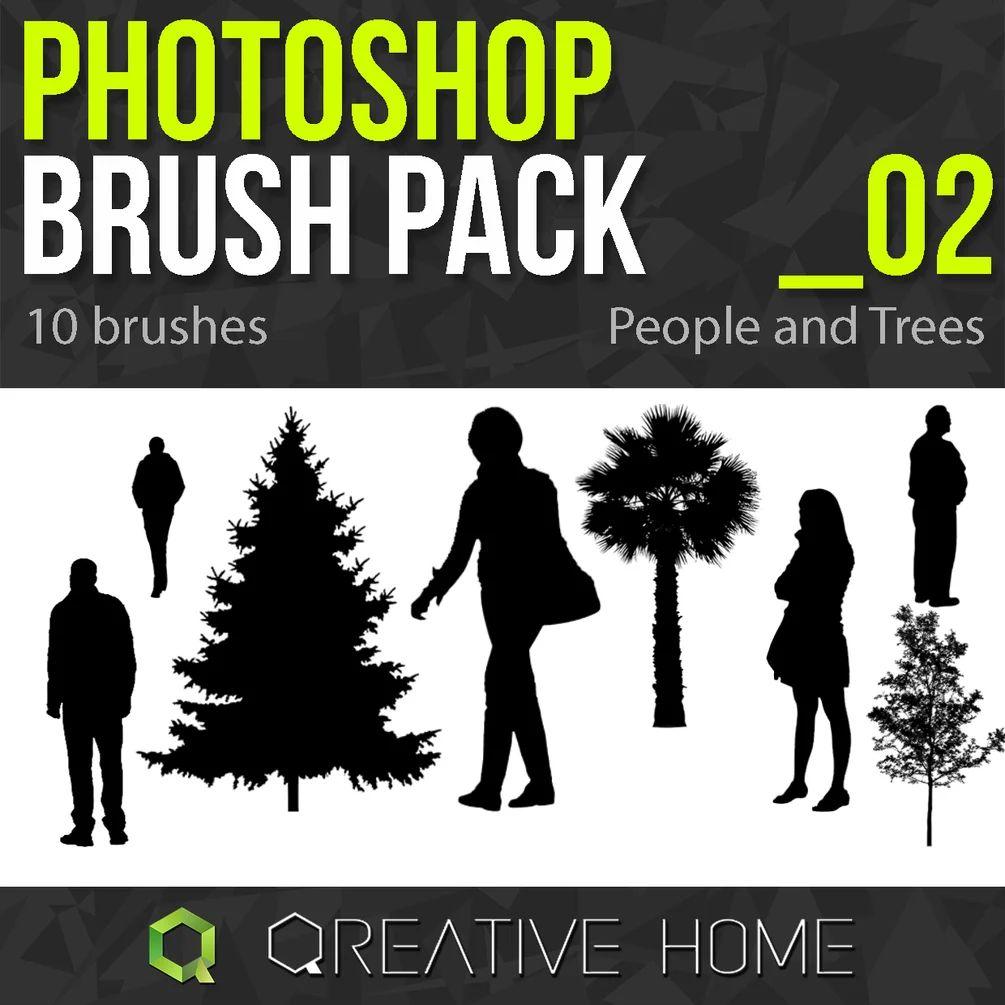 人像和大树剪影图像PS笔刷素材