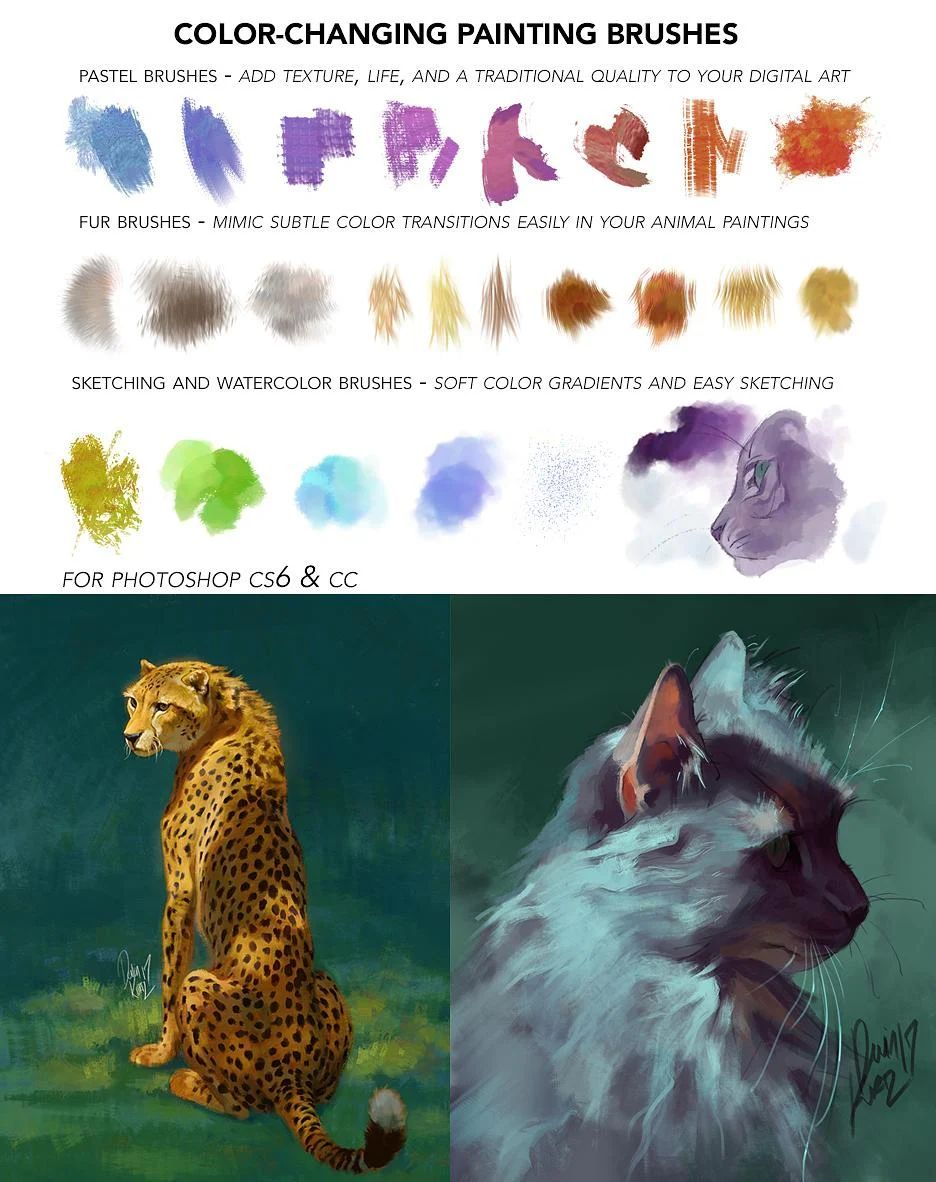 专业动物系列插画笔触PS笔刷素材