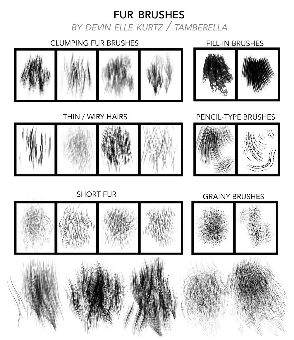 高清皮毛、毛发、长发纹理PS笔刷
