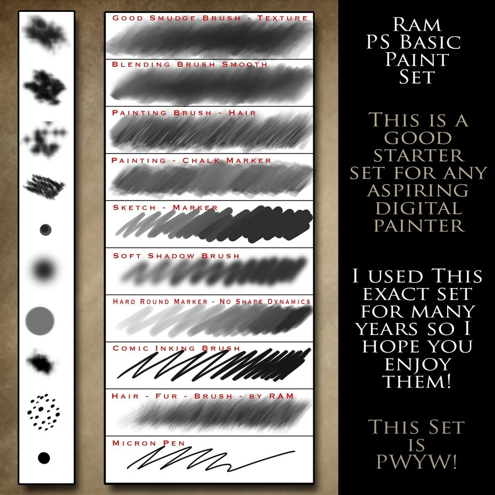 数字艺术插图绘画笔触PS笔刷素材