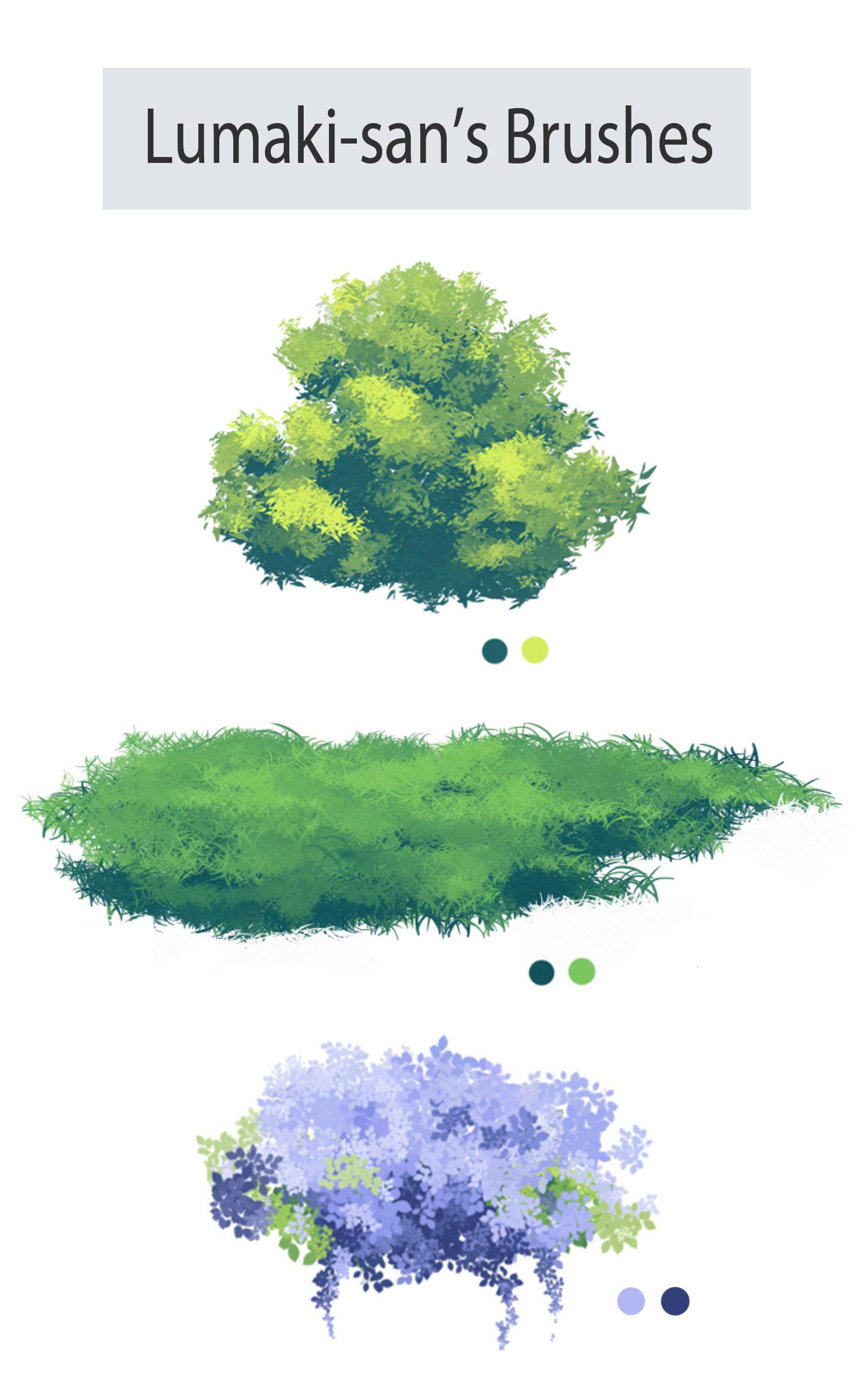创意绿色植物插图、插画图案PS笔刷素材