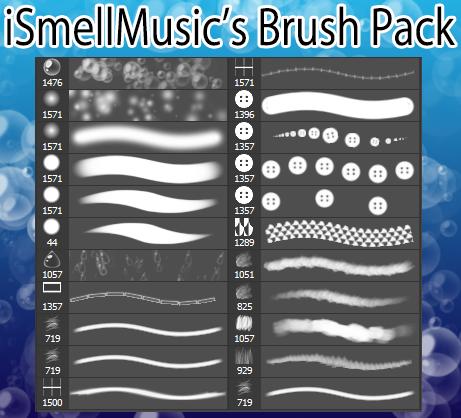 音乐气泡、纽扣、水滴等纹理PS笔刷素材