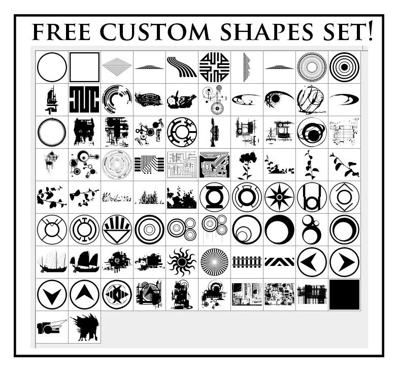 免费自定义形状图形PS笔刷下载(csh格式,自定义形状)