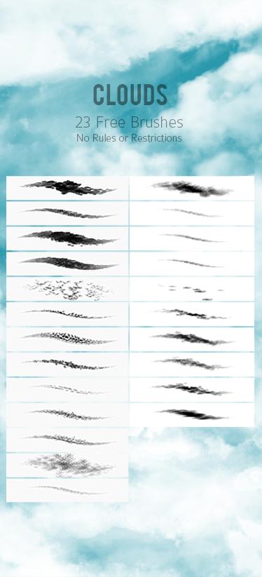 23种免费高清真实云朵、云彩PS笔刷素材