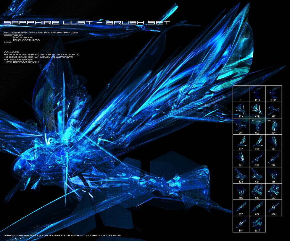 蓝宝石欲望套装 - 水晶效果PS笔刷