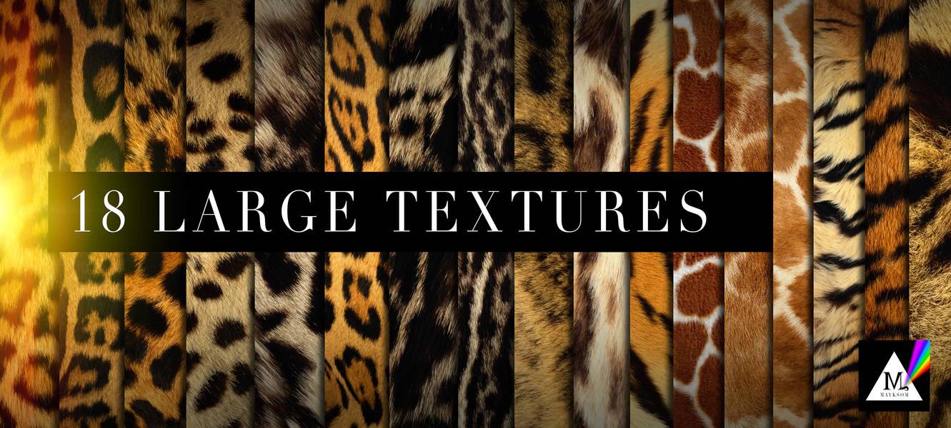 18种豹子、老虎等野生动物皮毛、皮肤纹理PS笔刷(JPG图片格式)