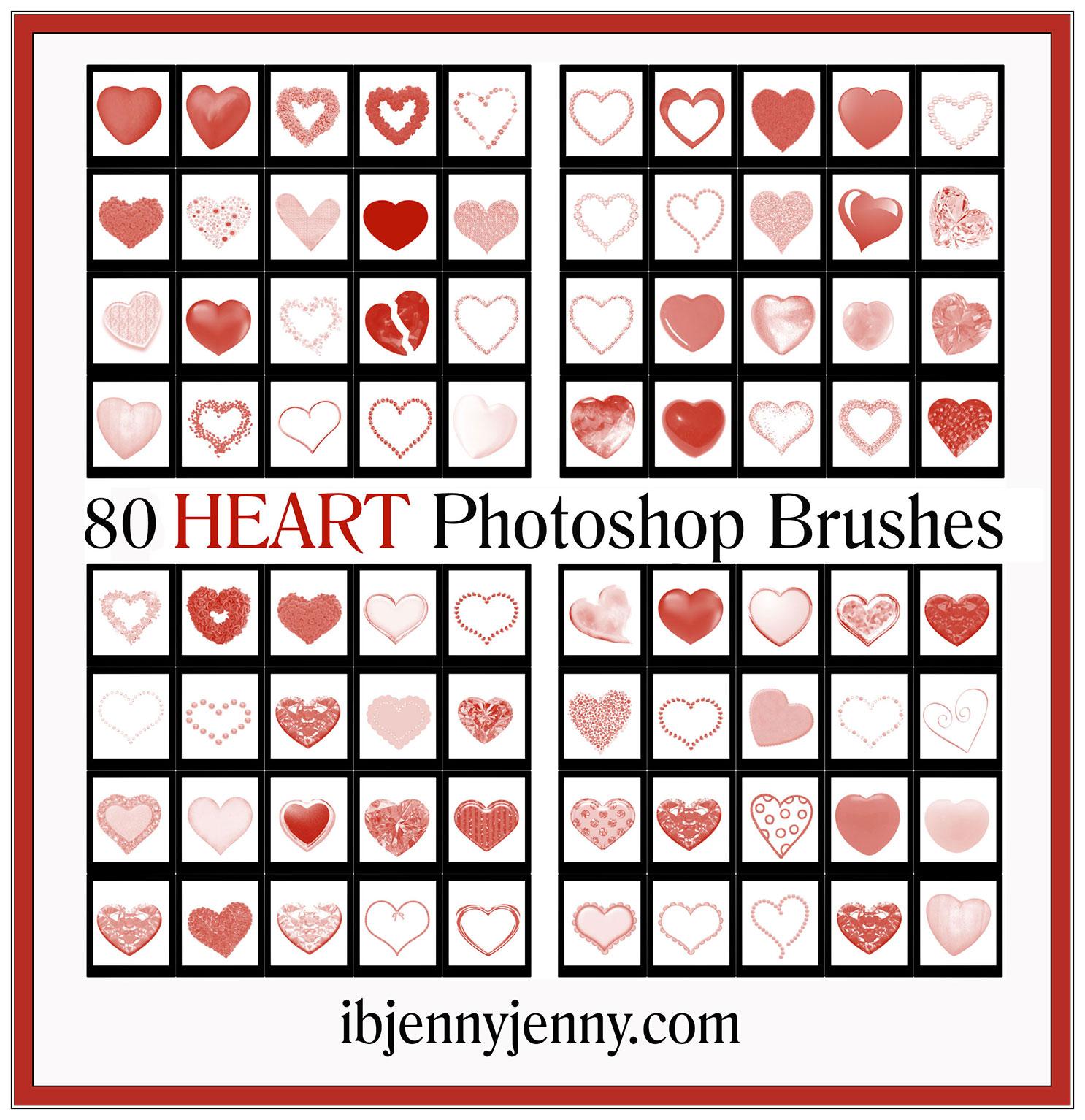 80种爱心、心形图案Photoshop笔刷素材
