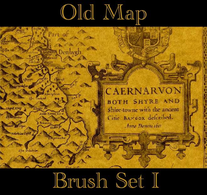 老旧地图风格、欧式地图元素PS笔刷素材