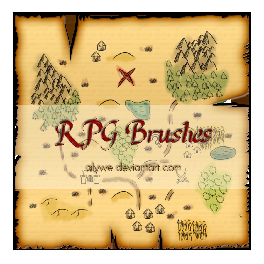 RPG游戏地图元素PS笔刷素材