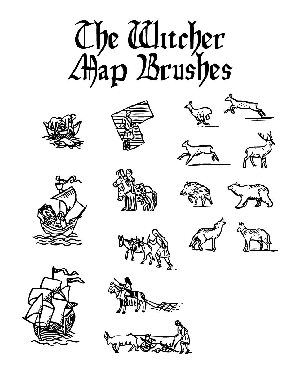 地图元素之小船、劳作的人物、动物野兽图像PS笔刷