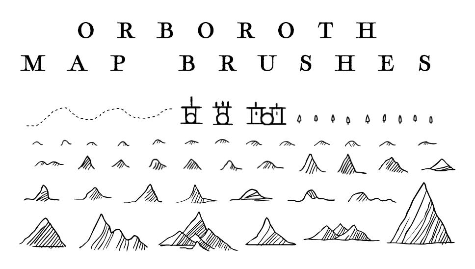 各种山脉、山川地形PS地图笔刷