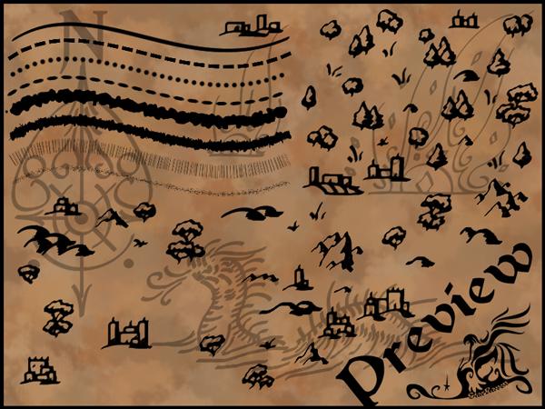 树木、沼泽、山丘、森林等涂鸦标记PS笔刷
