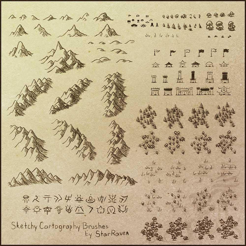 山脉、山丘、营地、城堡、森林、山丘、旗帜、营寨、防御塔等地图元素PS笔刷