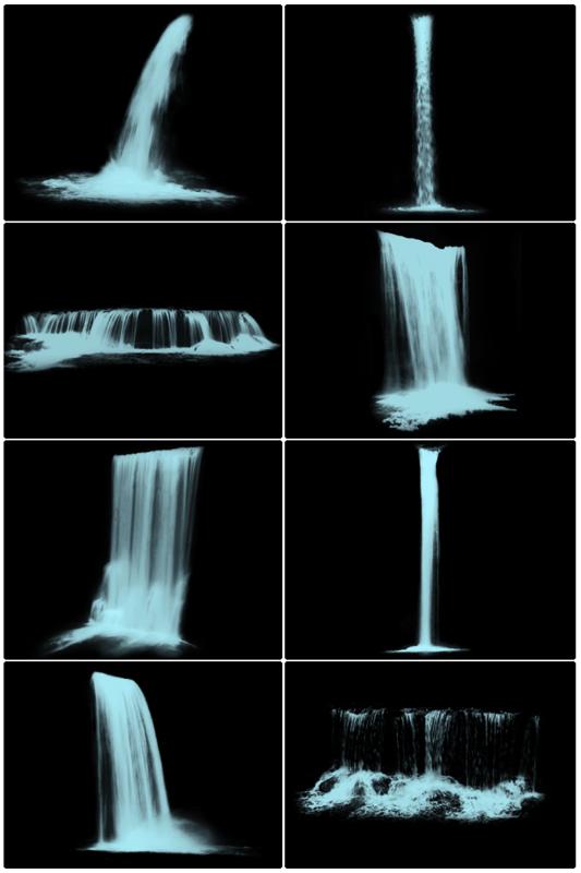 各种瀑布、流水造型PS笔刷