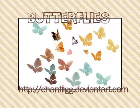水彩蝴蝶造型PS笔刷素材(JPG图片格式)