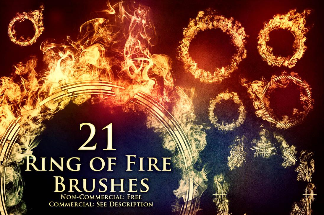 21种高品质火圈、火焰纹理花圈PS笔刷素材(带自定义样式风格.asl文件)