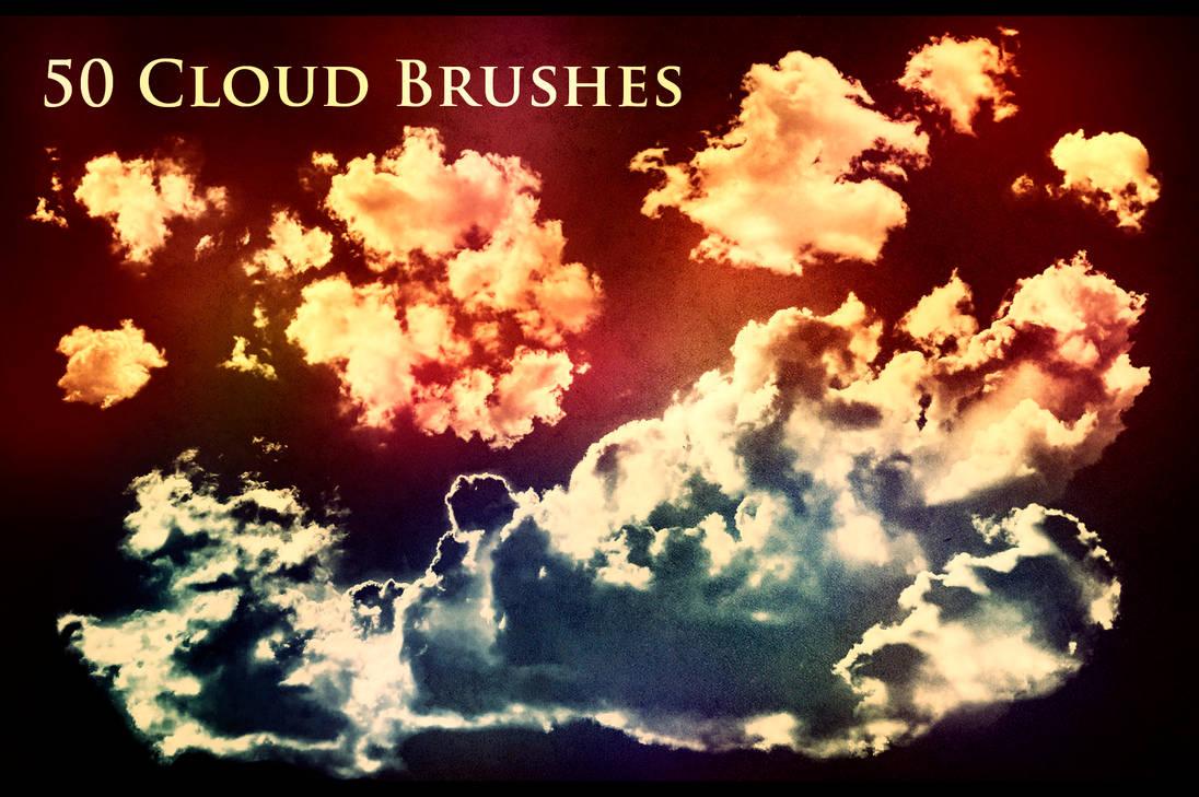 50种云朵、白云效果PS笔刷素材(带自定义样式风格.asl文件)