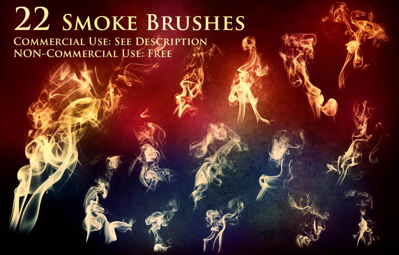 22种火焰烟雾效果PS笔刷(带自定义样式风格.asl文件)