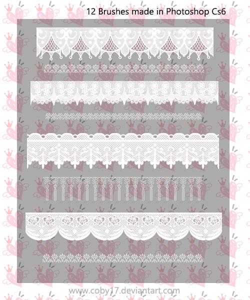 12种蕾丝花边印刷花纹PS笔刷素材