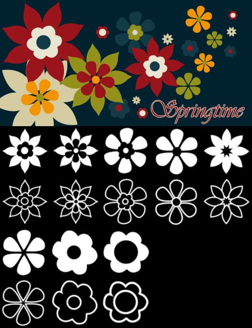 高清手绘矢量印花花朵图案PS笔刷素材