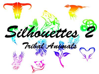 牛头、老鹰、狮子、蛇等动物纹身刺青PS素材(csh格式,自定义形状)