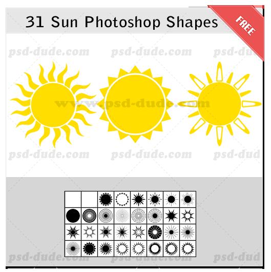 31种太阳图形、太阳光芒照射效果PS笔刷素材