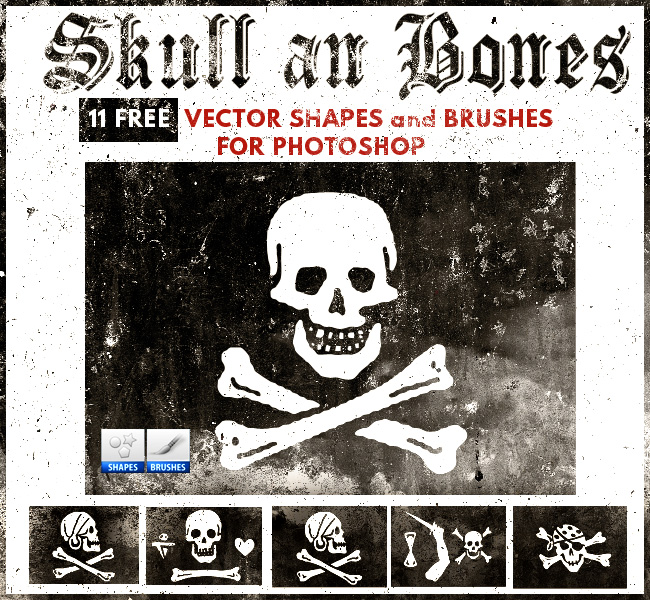 11种免费骷髅头图案PS笔刷素材