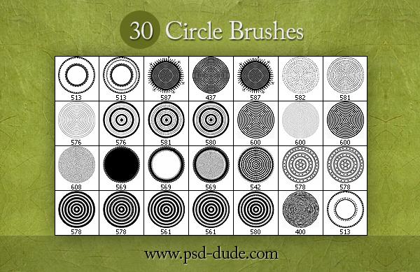 30种圆盘式印花、罗盘花纹图案PS笔刷素材