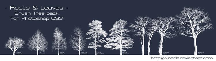 树木剪影笔刷ps素材