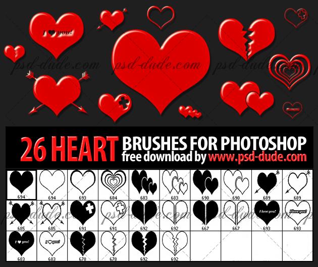 26种花式爱心图案PS笔刷下载