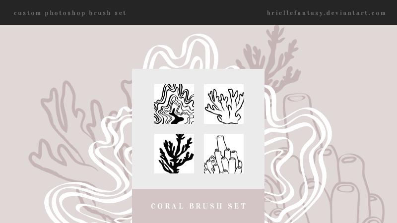 手绘海底珊瑚图案PS笔刷素材