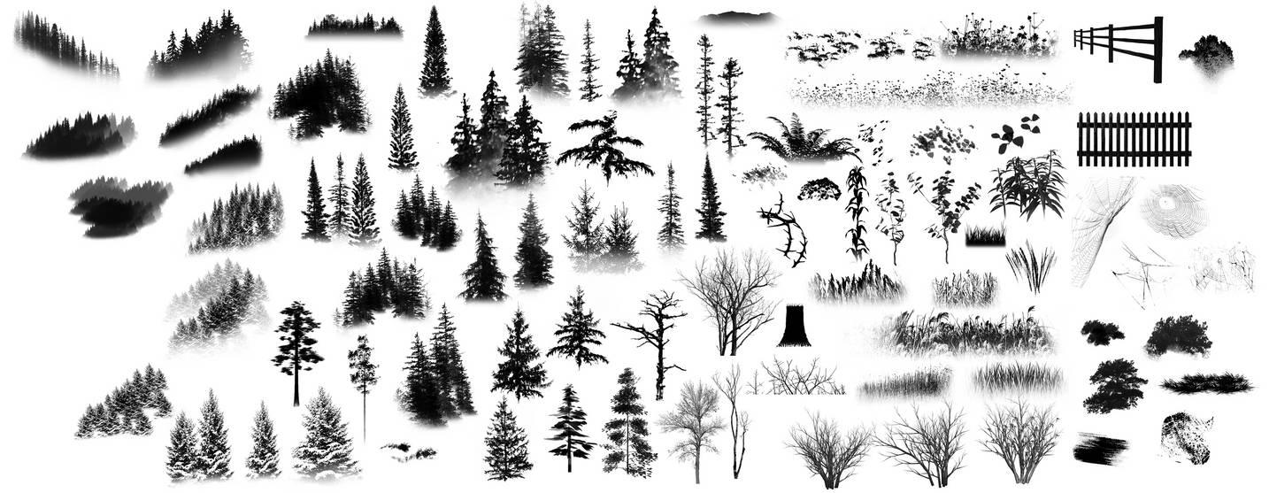 大树、森林、雪松、树叶、山林、野草等植物图形PS笔刷素材