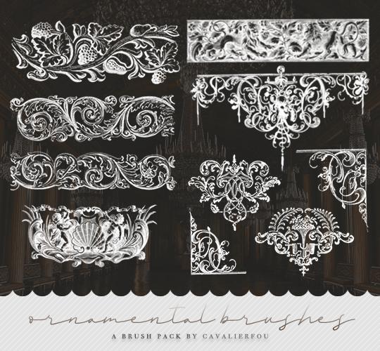 富丽堂皇的欧式雕刻风格花纹图案PS笔刷
