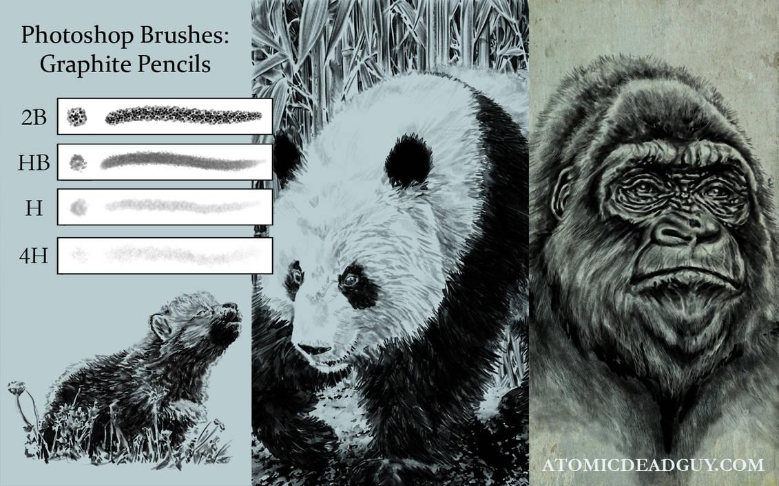 素描风格笔触、铅笔绘画PS笔刷素材