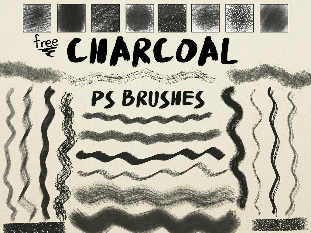 免费木炭纹理、铅笔笔触、碳素笔效果PS笔刷