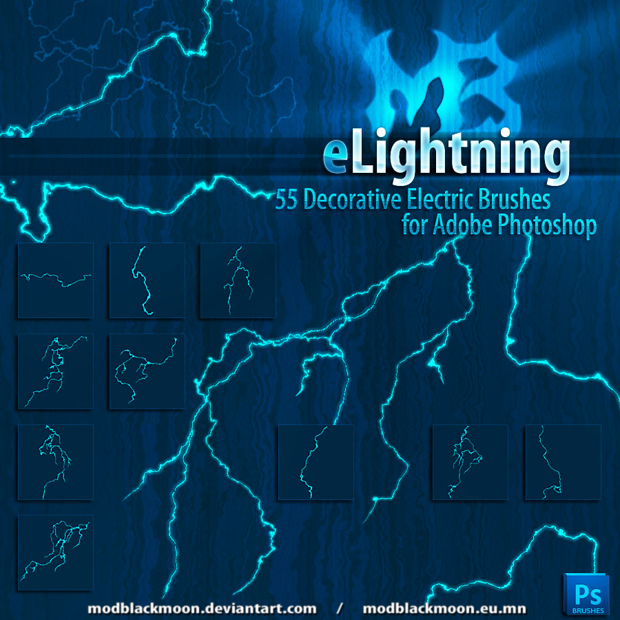 高清闪电、雷电、电弧、电磁线PS笔刷素材
