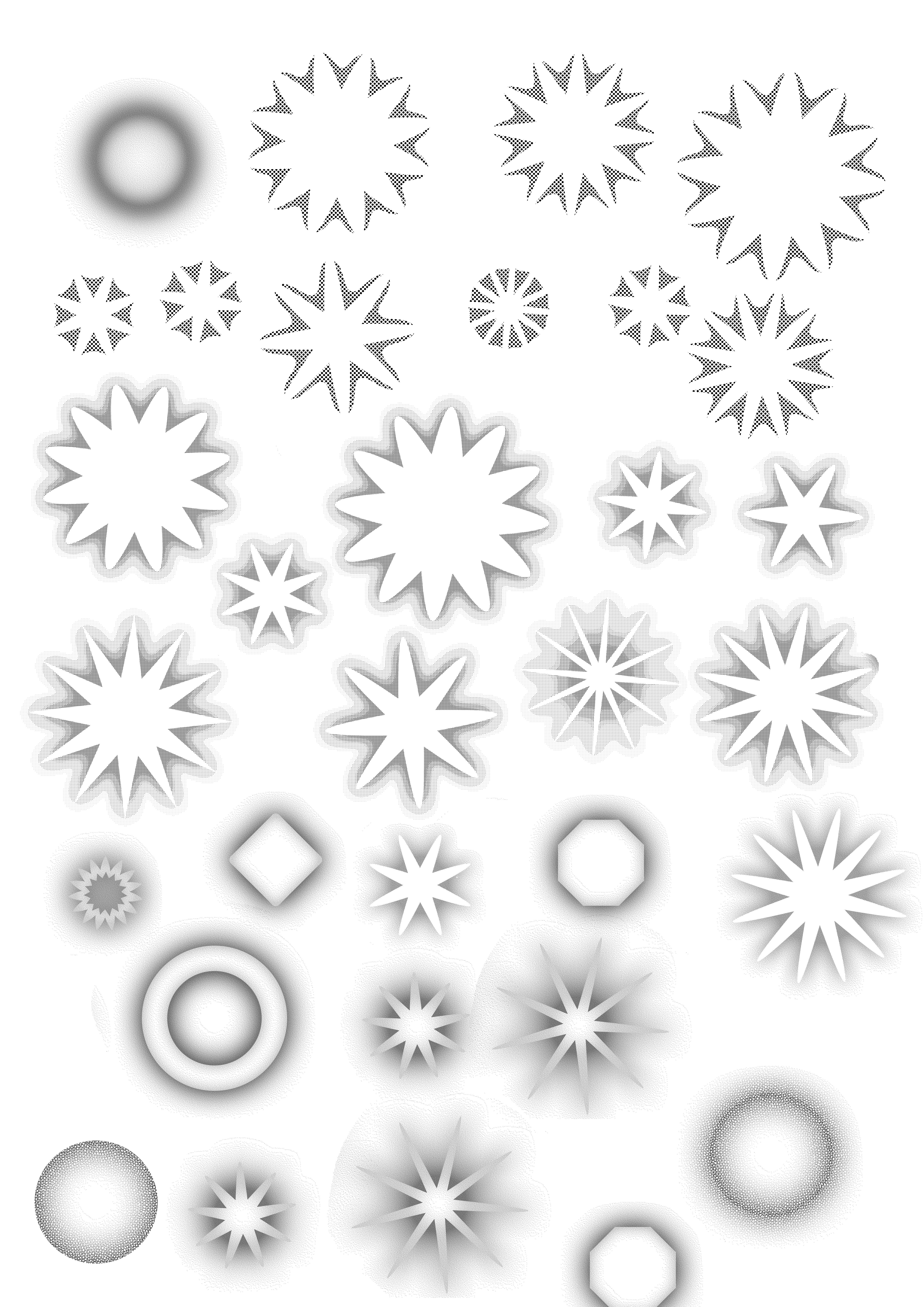 花朵形状、花纹图案PS笔刷素材