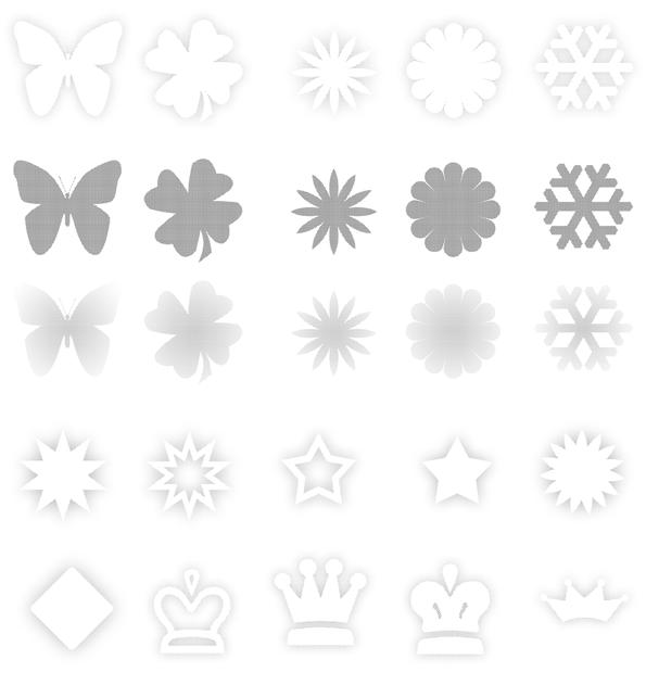 蝴蝶、花瓣、雪花等图案PS笔刷