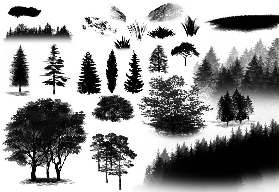 水墨风格的杉树、大树、松树等图形PS笔刷素材