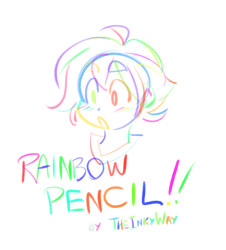 彩虹铅笔、蜡笔效果笔触CSP画笔SUT笔刷下载