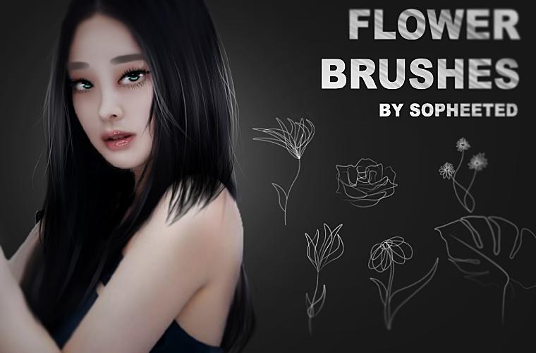 手绘纤细花朵图案PS笔刷素材