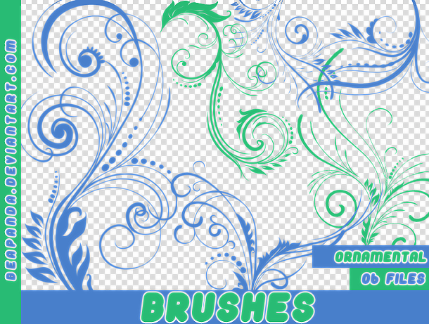 优美高雅的蕨类植物花纹图案PS笔刷素材