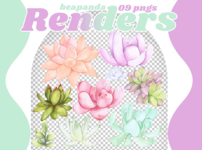手绘漂亮的宝石花、水彩多肉图形PS笔刷(PNG文件素材)