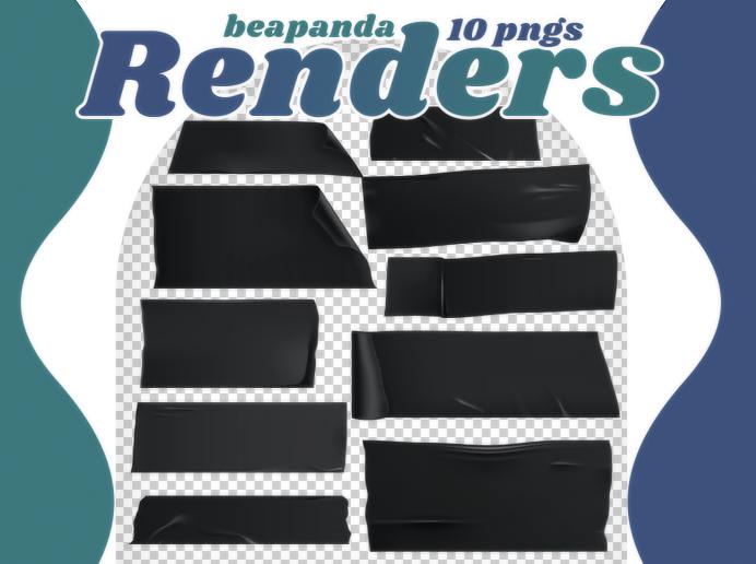黑色胶布、胶带贴纸纹理PS笔刷素材(PNG图片格式)