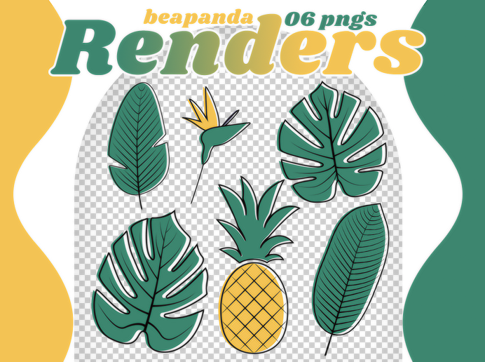 绿色植物叶子、菠萝等卡通形象PS笔刷素材(PNG图片格式)